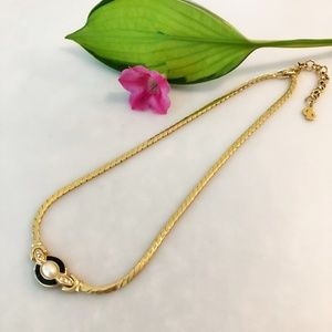 Fun Gold, Pearl, and Black Costume Necklace